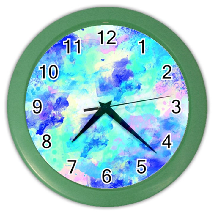 Transparent Colorful Rainbow Blue Paint Sky Color Wall Clocks