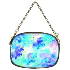 Transparent Colorful Rainbow Blue Paint Sky Chain Purses (one Side)