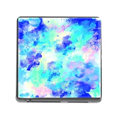 Transparent Colorful Rainbow Blue Paint Sky Memory Card Reader (square)