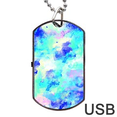 Transparent Colorful Rainbow Blue Paint Sky Dog Tag Usb Flash (two Sides)