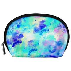 Transparent Colorful Rainbow Blue Paint Sky Accessory Pouches (large)