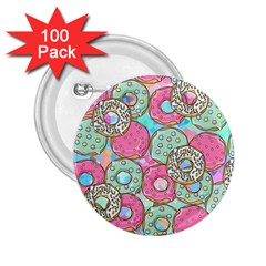 Donuts Pattern 2 25  Buttons (100 Pack)