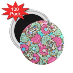 Donuts Pattern 2 25  Magnets (100 Pack)