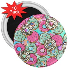 Donuts Pattern 3  Magnets (10 Pack)