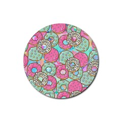 Donuts Pattern Rubber Coaster (round)