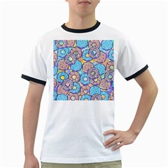 Donuts Pattern Ringer T Shirts
