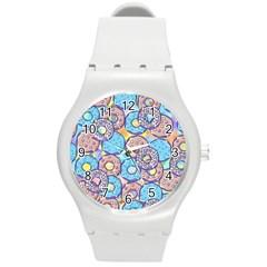 Donuts Pattern Round Plastic Sport Watch (m)