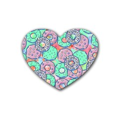 Donuts Pattern Heart Coaster (4 Pack)