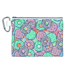 Donuts Pattern Canvas Cosmetic Bag (l)