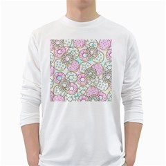 Donuts Pattern White Long Sleeve T Shirts