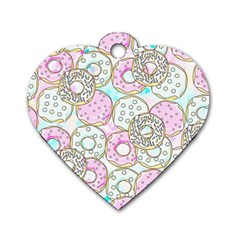 Donuts Pattern Dog Tag Heart (two Sides)