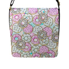 Donuts Pattern Flap Messenger Bag (l)
