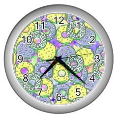 Donuts Pattern Wall Clocks (silver)