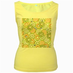 Donuts Pattern Women s Yellow Tank Top