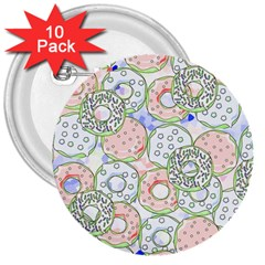 Donuts Pattern 3  Buttons (10 Pack)