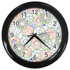 Donuts Pattern Wall Clocks (black)
