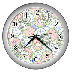 Donuts Pattern Wall Clocks (silver)