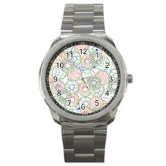 Donuts Pattern Sport Metal Watch