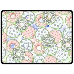 Donuts Pattern Double Sided Fleece Blanket (large)