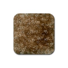 Heart Pattern Rubber Coaster (square)