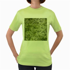 Heart Pattern Women s Green T Shirt