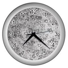 Heart Pattern Wall Clocks (silver)