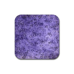 Heart Pattern Rubber Square Coaster (4 Pack)