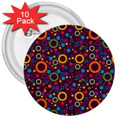 70s Pattern 3  Buttons (10 Pack)