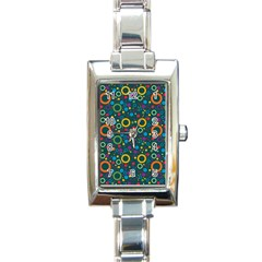 70s Pattern Rectangle Italian Charm Watch