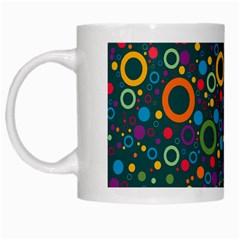 70s Pattern White Mugs