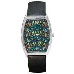 70s Pattern Barrel Style Metal Watch