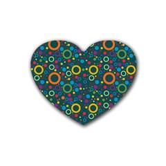 70s Pattern Rubber Coaster (heart)