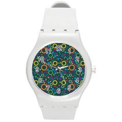 70s Pattern Round Plastic Sport Watch (m)