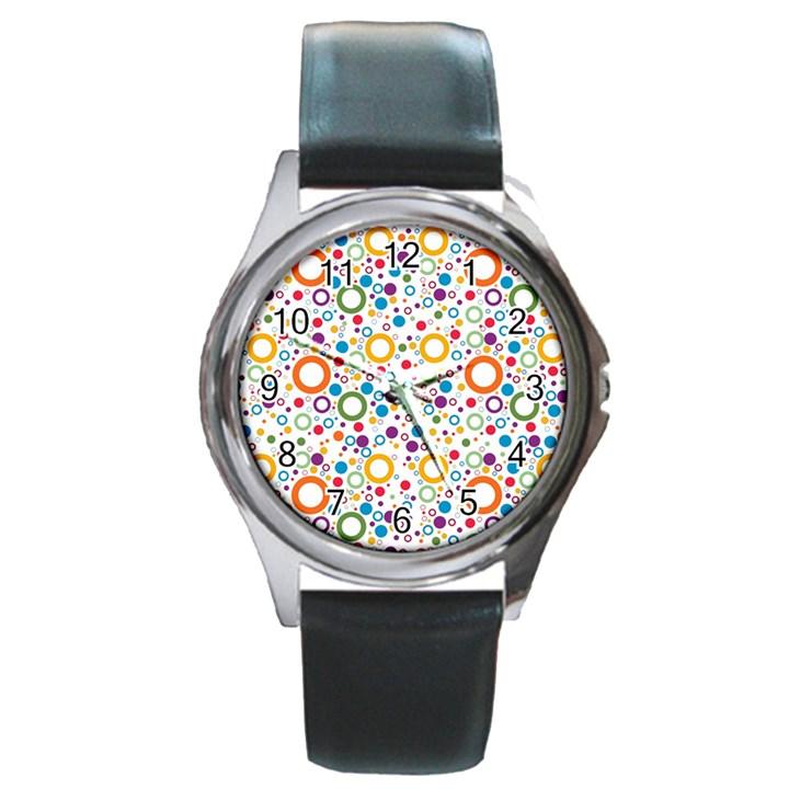70s pattern Round Metal Watch