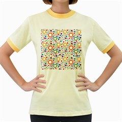 70s Pattern Women s Fitted Ringer T Shirts