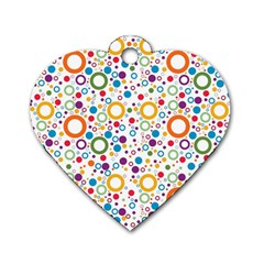 70s Pattern Dog Tag Heart (two Sides)