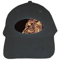 Angry Male Lion Gold Black Cap