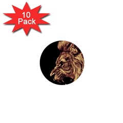 Angry Male Lion Gold 1  Mini Buttons (10 Pack)