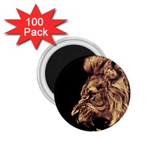 Angry Male Lion Gold 1 75  Magnets (100 Pack)
