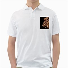 Angry Male Lion Gold Golf Shirts