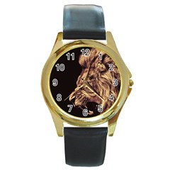 Angry Male Lion Gold Round Gold Metal Watch