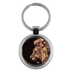Angry Male Lion Gold Key Chains (round)