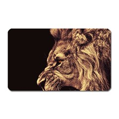 Angry Male Lion Gold Magnet (rectangular)