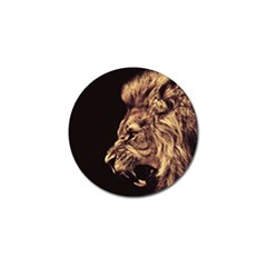 Angry Male Lion Gold Golf Ball Marker