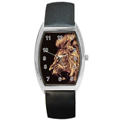 Angry Male Lion Gold Barrel Style Metal Watch