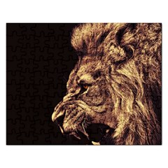 Angry Male Lion Gold Rectangular Jigsaw Puzzl