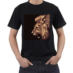 Angry Male Lion Gold Men s T Shirt (black) (two Sided)