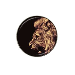 Angry Male Lion Gold Hat Clip Ball Marker