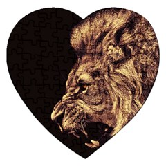 Angry Male Lion Gold Jigsaw Puzzle (heart)