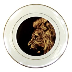 Angry Male Lion Gold Porcelain Plates
